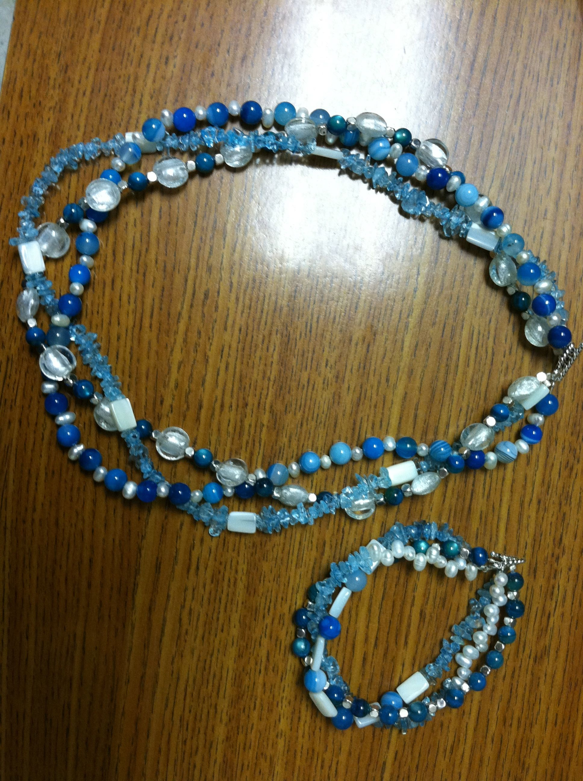 Multi strand necklace and bracelet