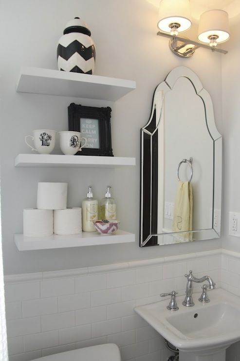 346 Living: Spectacular bathroom with gray walls framing white floating  shelves filled with Target .