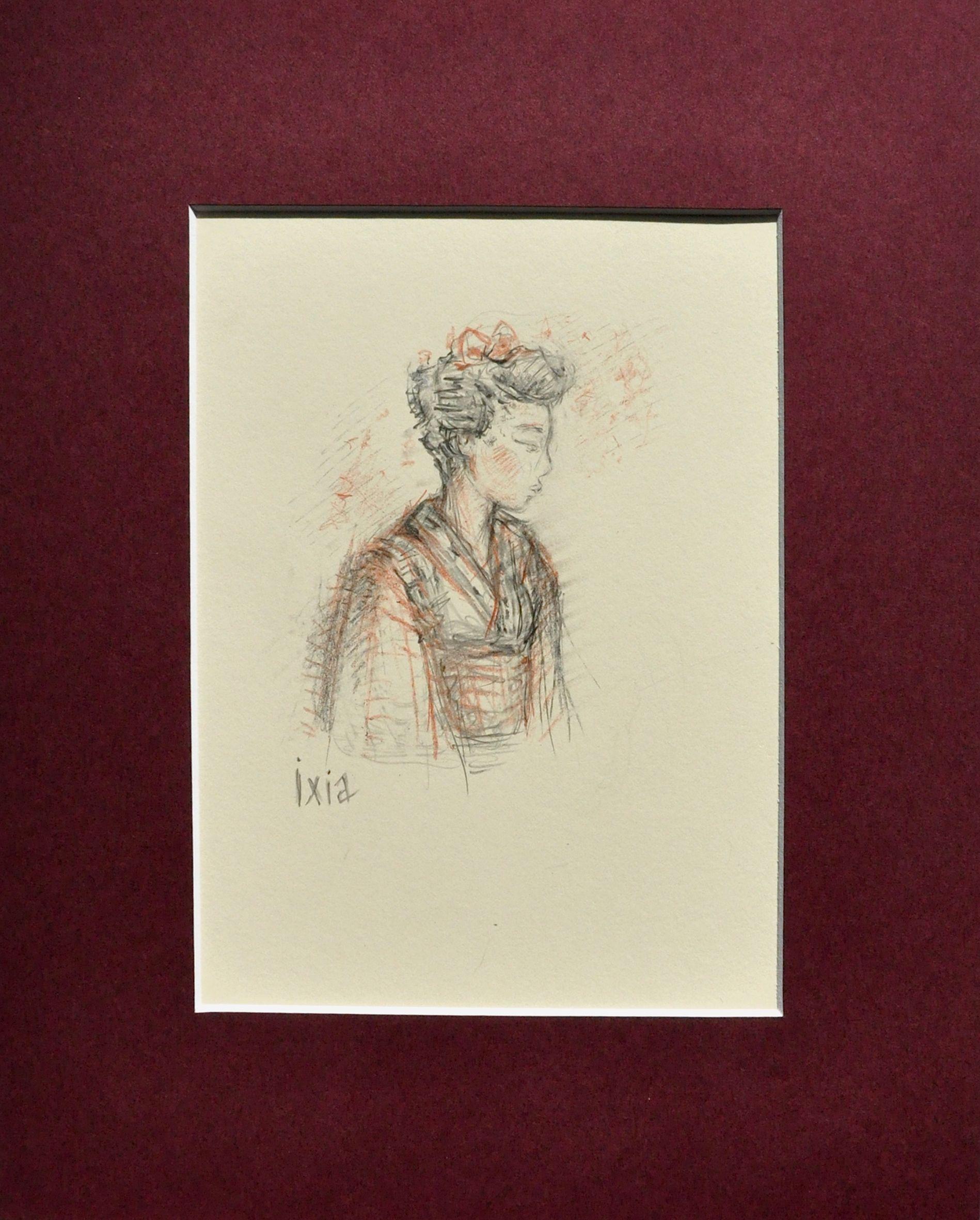"""""""Songeuse"""" 13,8 x 19 cm by Ixia #Japan #kimono #ixia"""