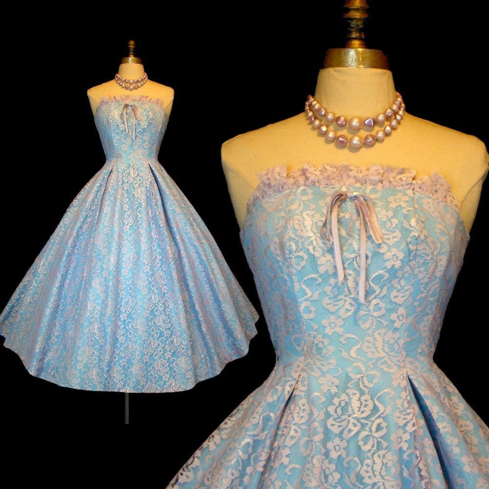 Vintage s emma domb lace prom wedding dress strapless blue