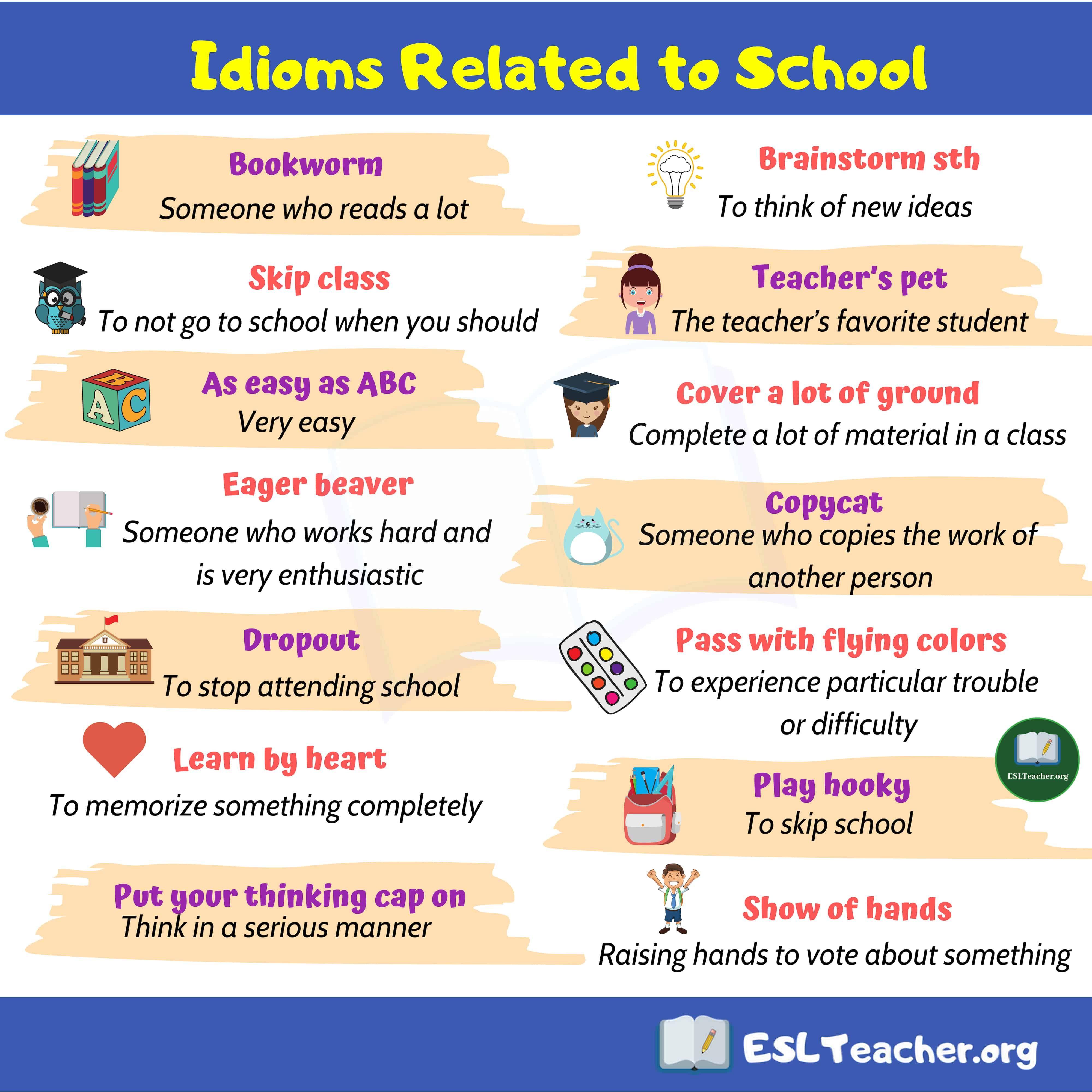 School Idioms 15 Popular School Idioms In English