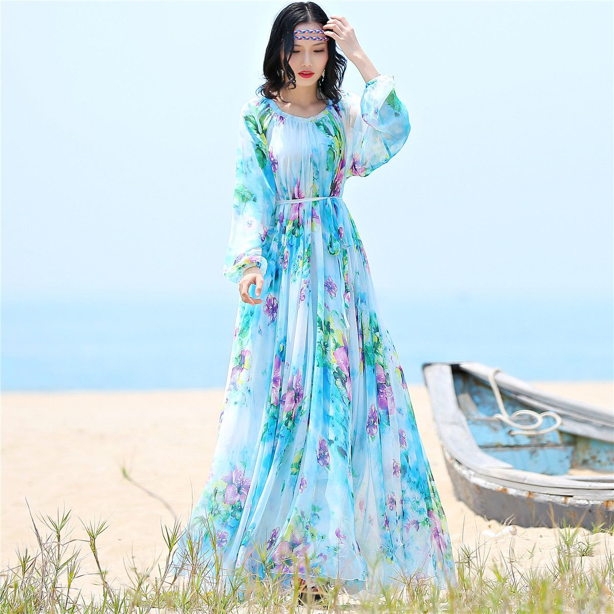 chiffon long sleeve maxi dress bohemia dress full plus size