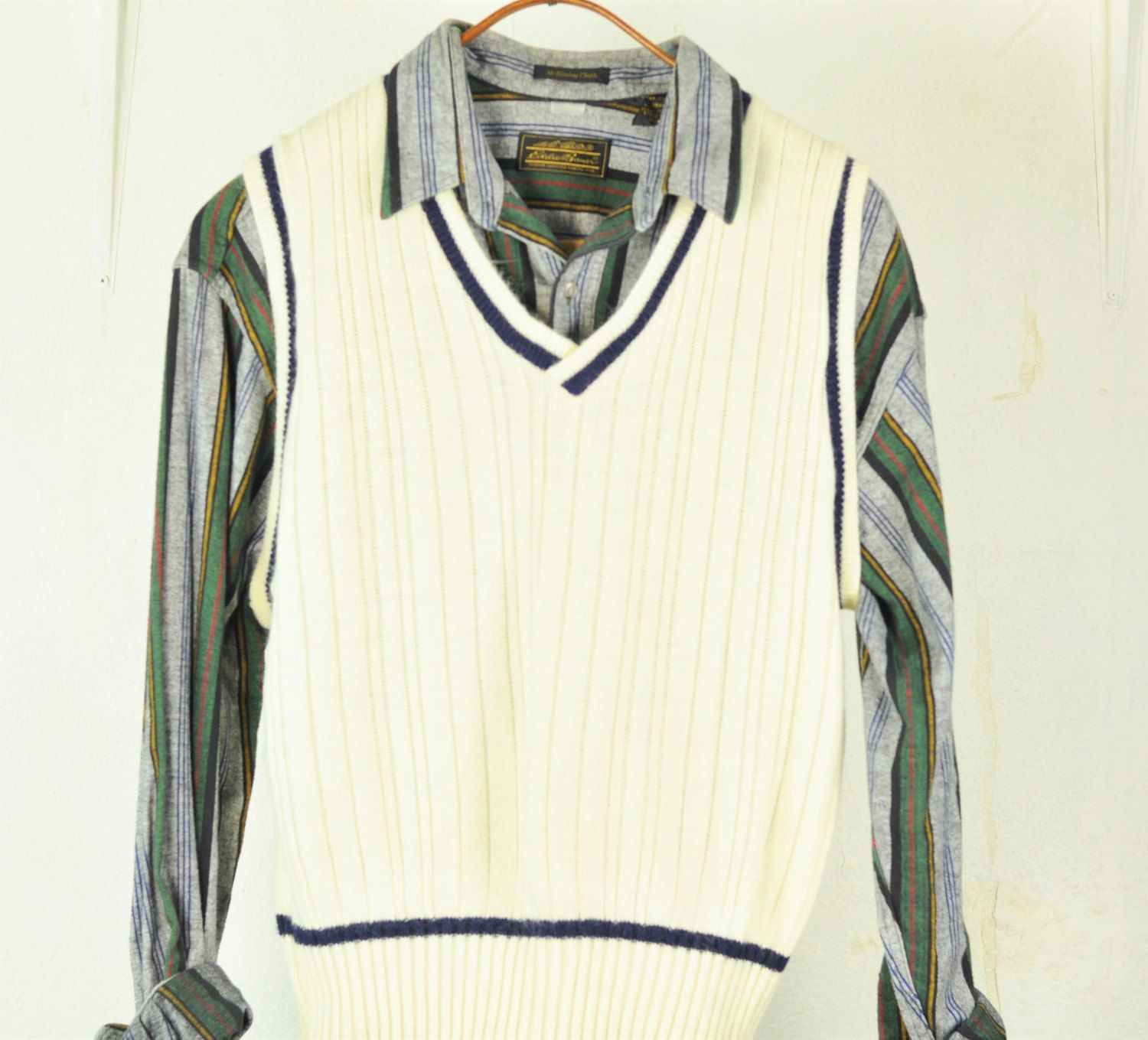 $21.50 Mens #Sweater #Vest L Cable Knit V-Neck OffWhite Vintage ...