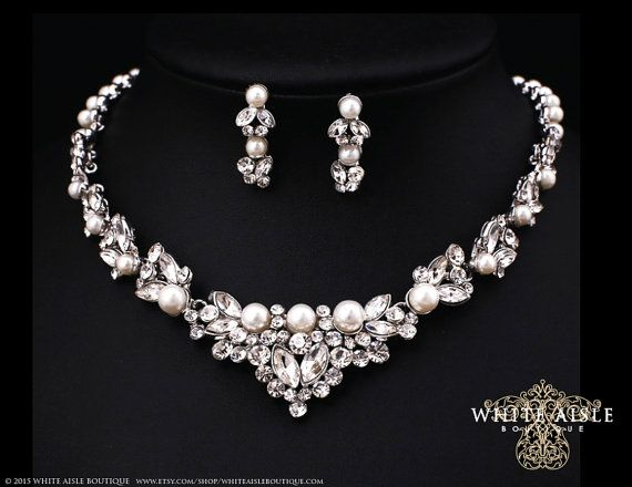 Pearl Necklace Pearl Bridal Jewelry Set Statement Necklace