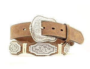 Ariat Western Belt Mens Scallop Conchos Rawhide Bay Brown A1010602 from Stand Up Ranchers at SHOP.COM