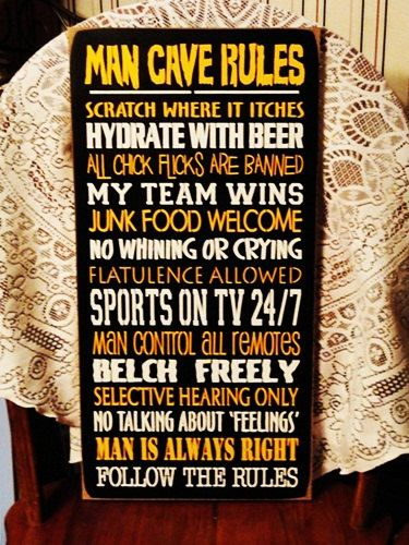 Man Caves Magazine Wood : Man cave rules funny painted wood sign colors can be