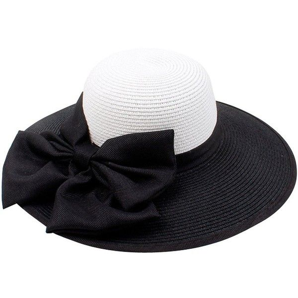 af3654e54faff Women Wide Brim Floppy Hat Sun Beach Black and White Bowknot Derby Hat...  ( 22) ❤ liked on Polyvore featuring accessories