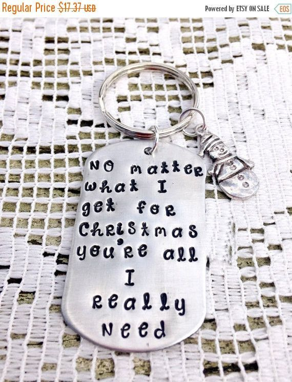 Merry Christmas, Hand Stamped Key Chain, Christmas Gifts ...