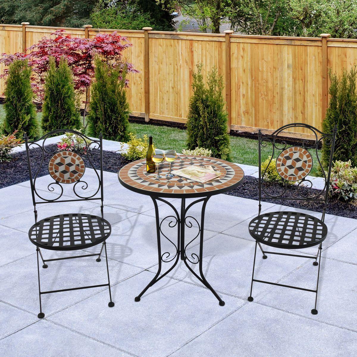 Salon De Jardin 2 Pers Style Fer Forge Mosaique Agrement De