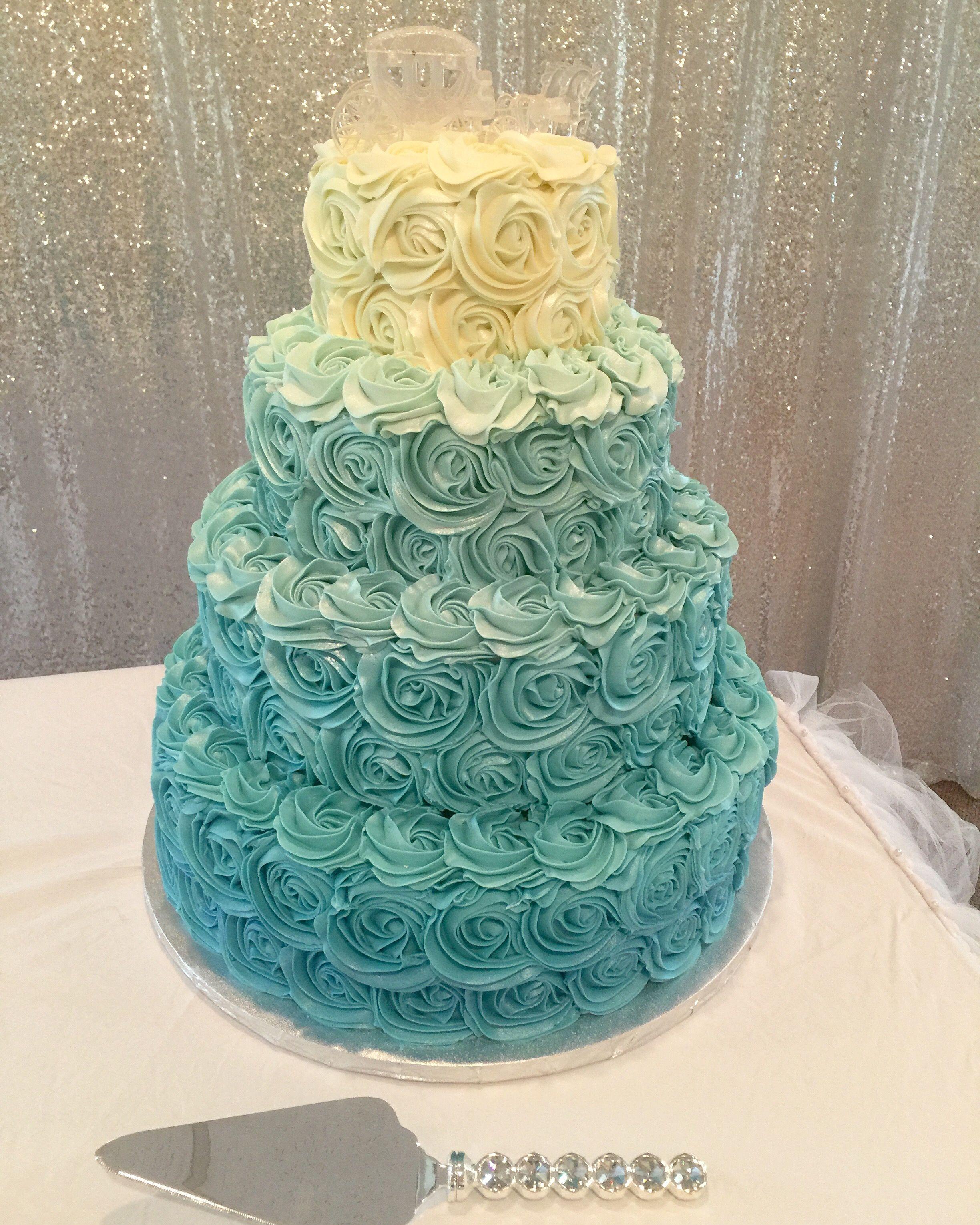 Ombre Blue Rosette Cake Chocolate Wedding Cake Sweet 16 Birthday Cake Wedding Cake Photos