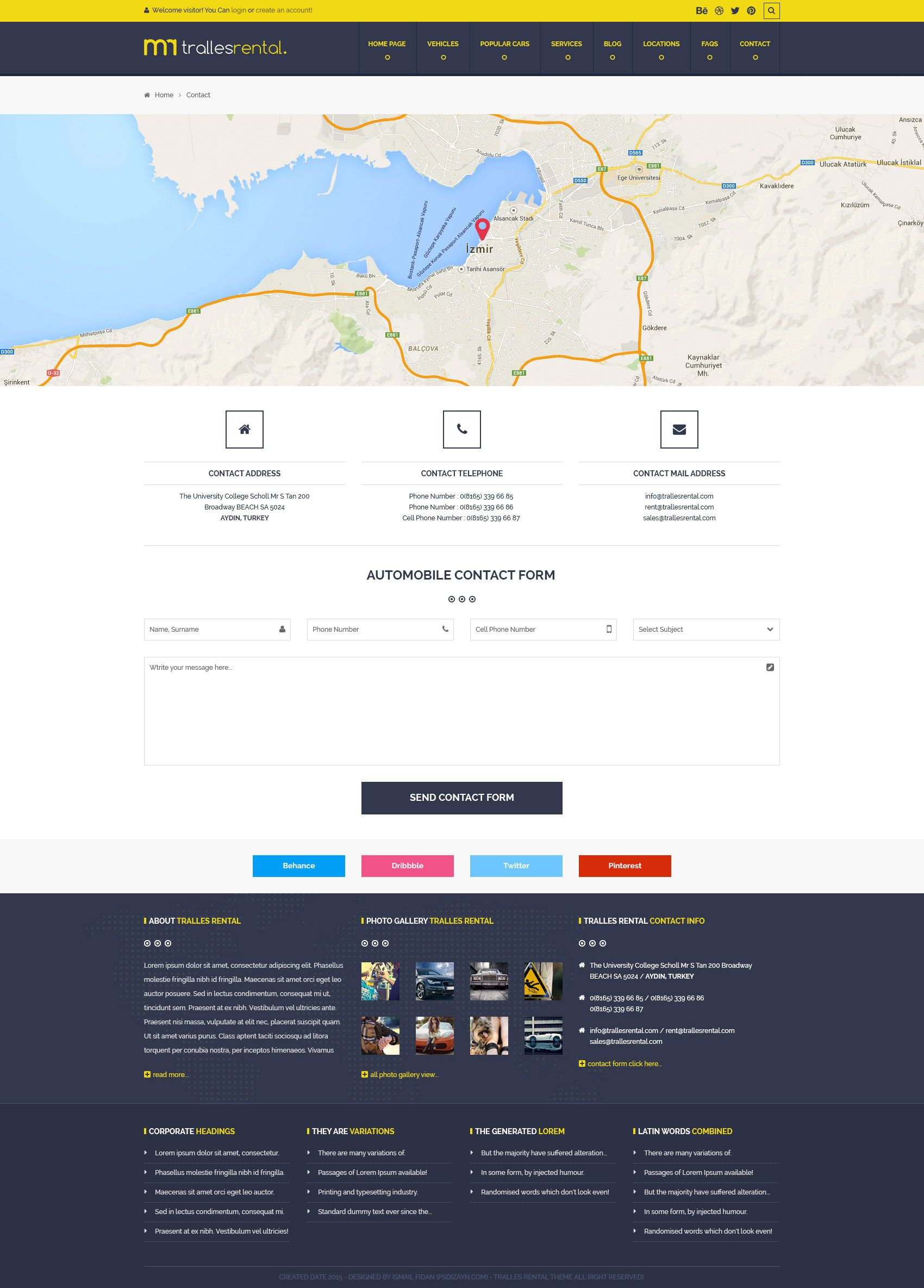Tralles Car Rental Sell And Booking Psd Template Rental Car