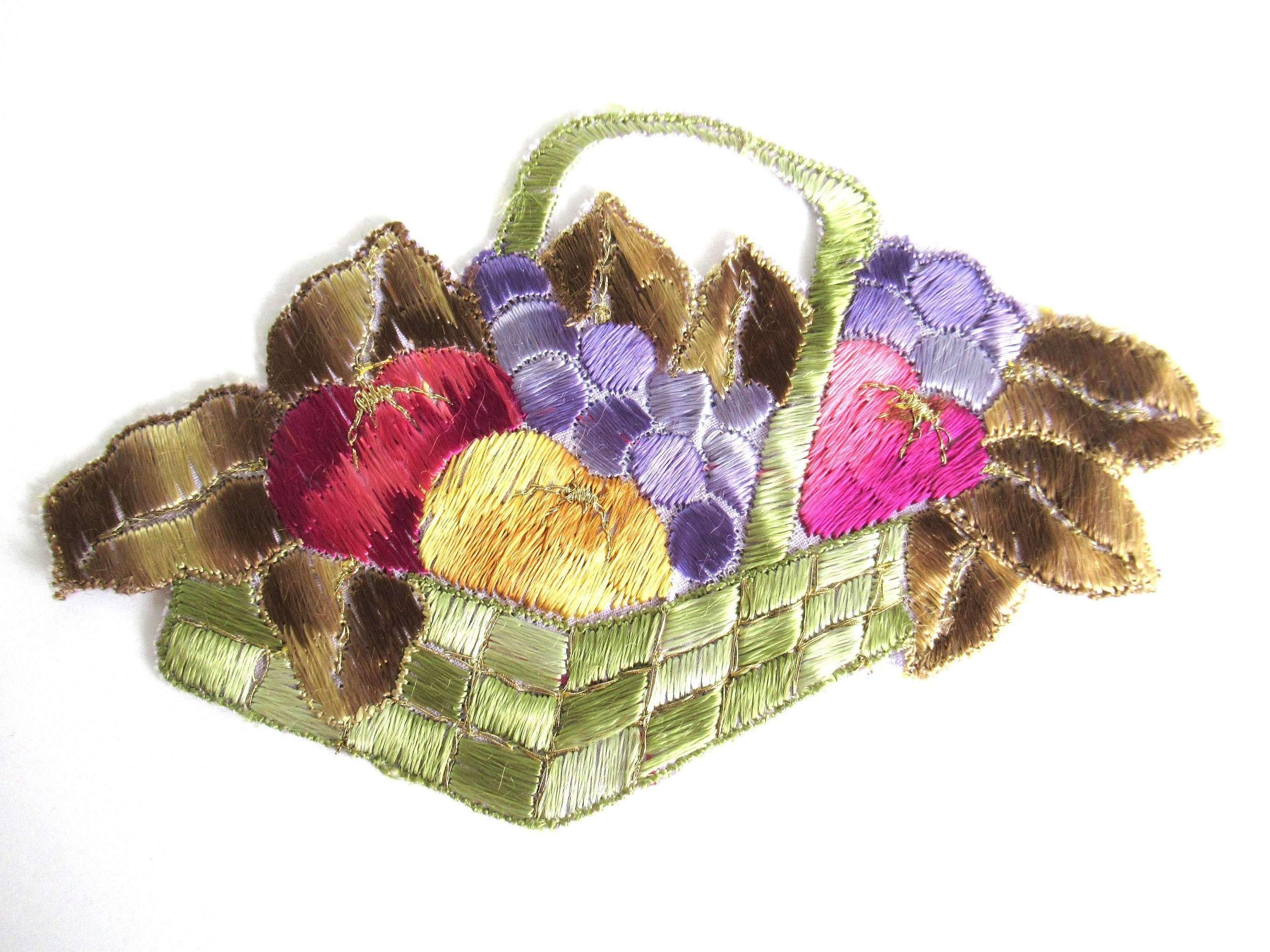 Fruit basket applique 1930s vintage embroidered applique. vintage