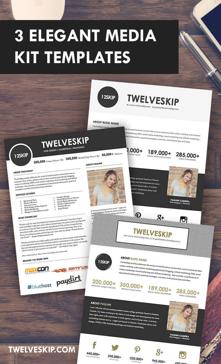Media Kit! Looking for elegant and professionally-made Media Kit Templates that are easy to edit? Come and get one at: http://www.twelveskip.com/guide/blogging/1396/media-kit-templates