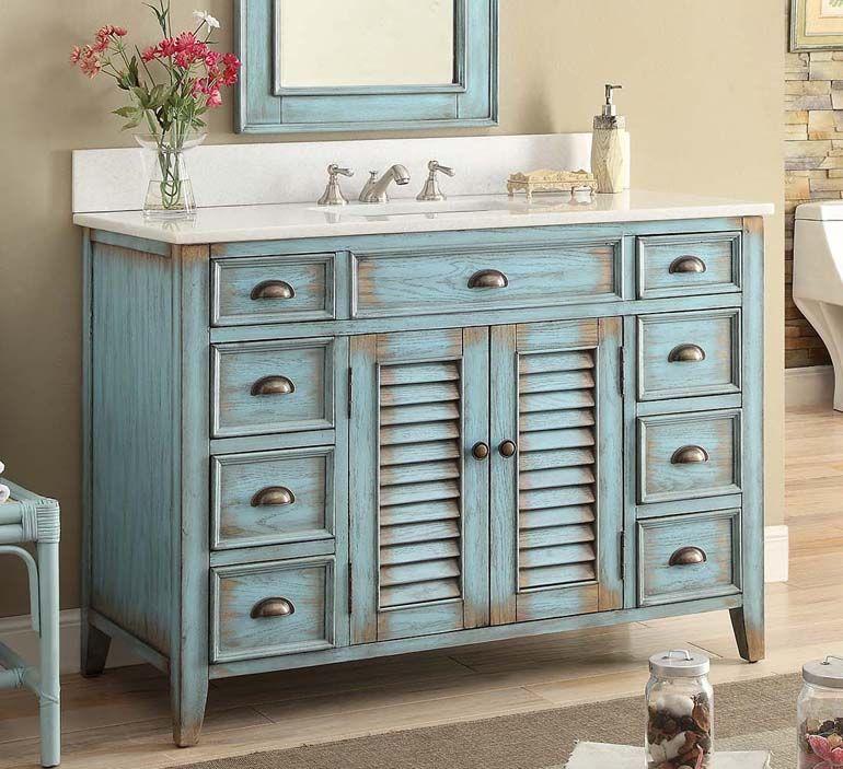 46 Inch Adelina Rustic Cottage Bathroom Vanity White