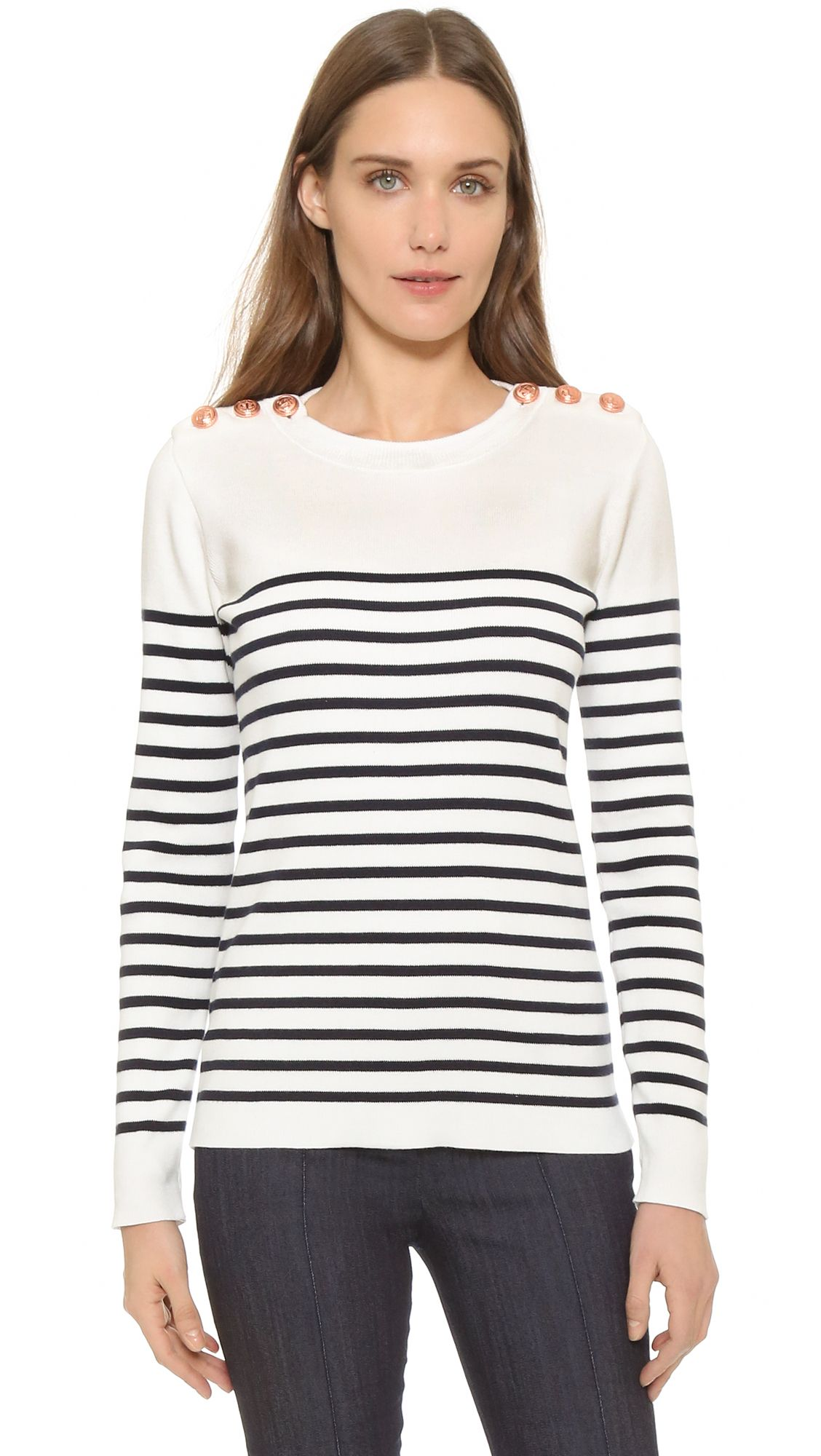 Petit Bateau Knit Striped Sweater - Lait/Smoking | SHOPBOP.COM saved by #ShoppingIS