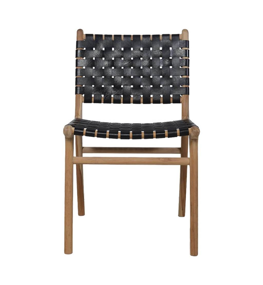 Leather Strapping Dining Chair In Teak Black Black Dining