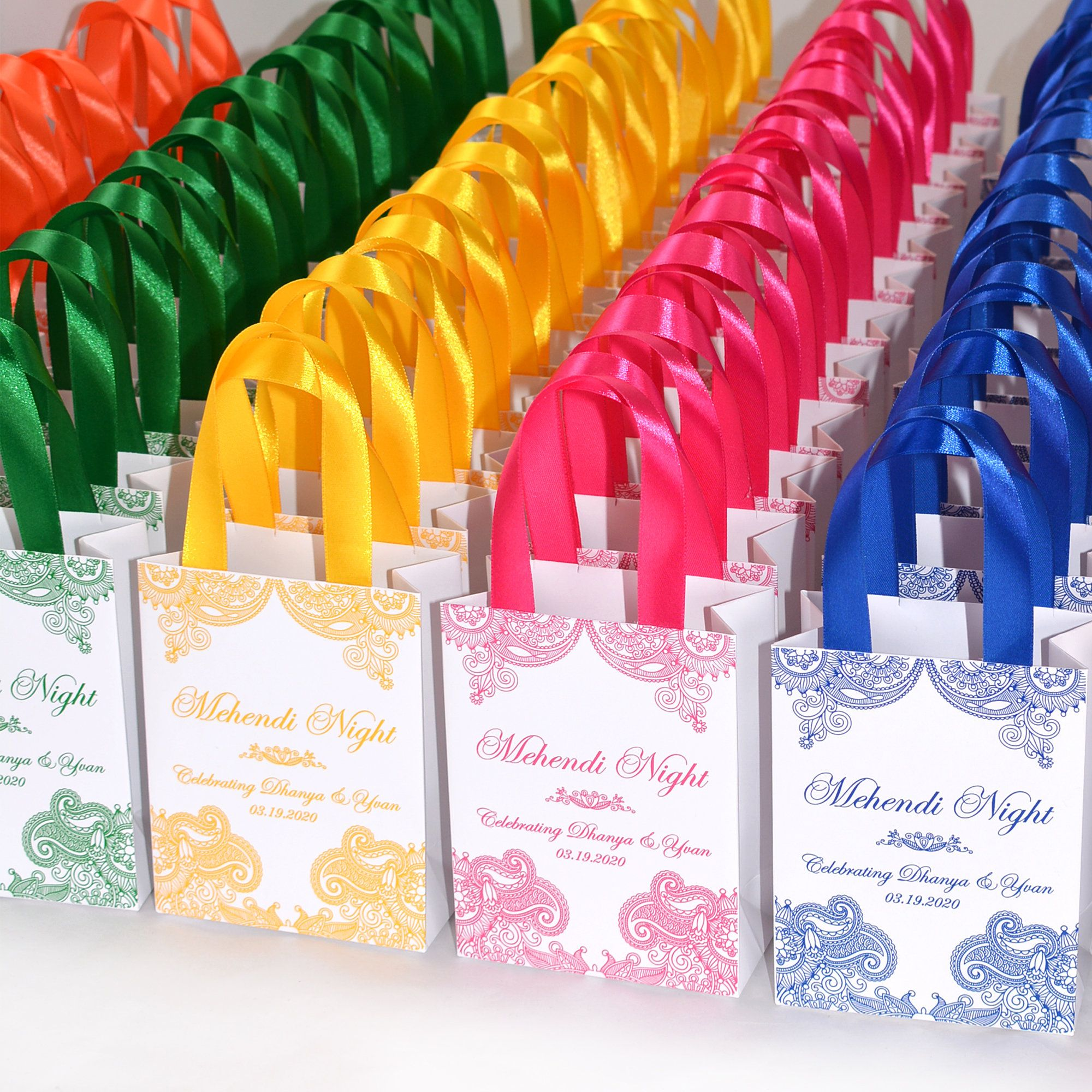 25 mehendi night gift bags with satin ribbon your names