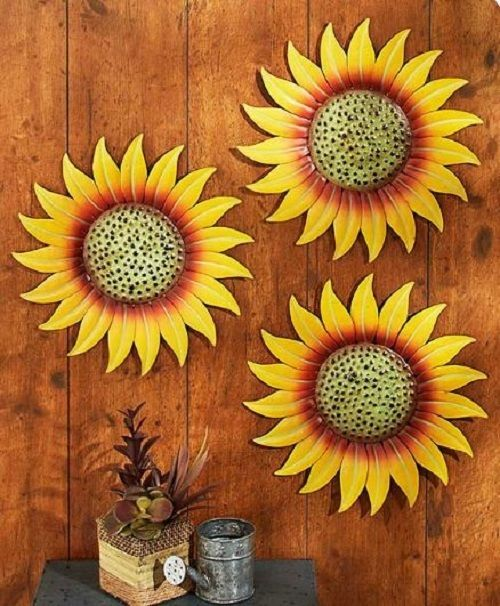 Sunflower Kitchen Decor Patio Wall Art Metal Garden