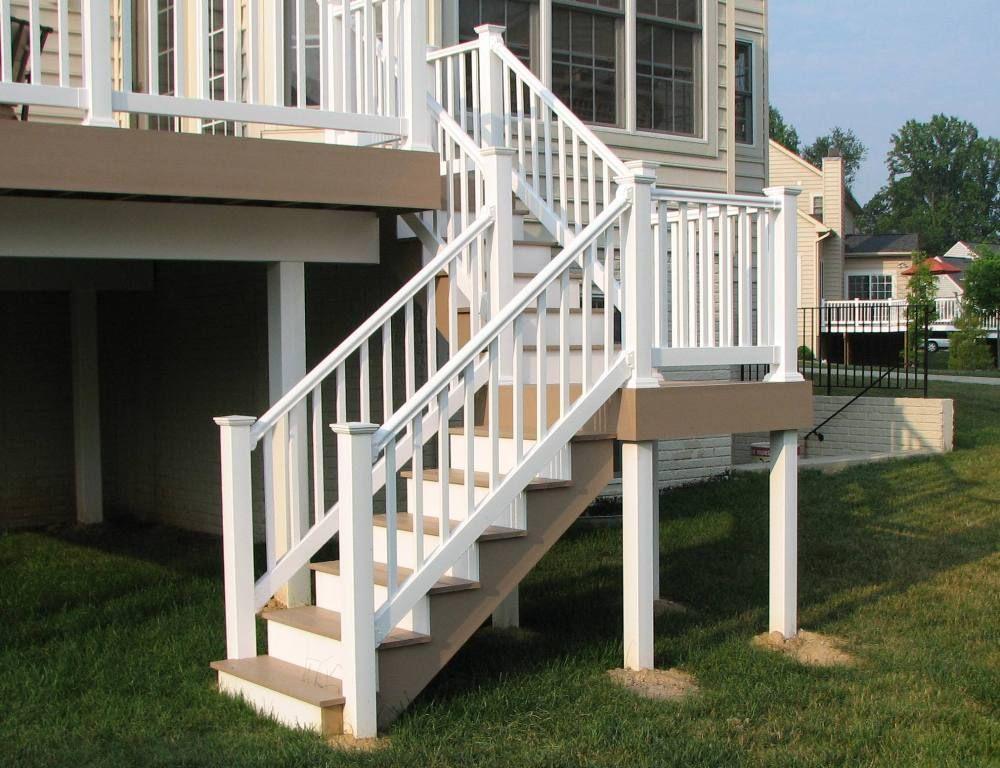 Best Azek Brownstone Split Deck Staircase And Longevity White 400 x 300
