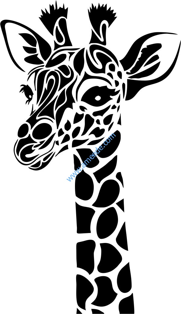 Giraffe Head File Cdr And Dxf Free Vector Download For Print Or Laser Engraving Machines Download Free Vectors Animal Stencil Giraffe Art Stencil Art