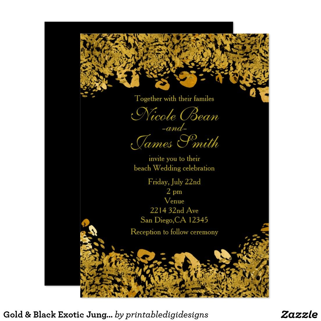 Gold & Black Exotic Jungle Cheetah Invitations | Animal Print ...