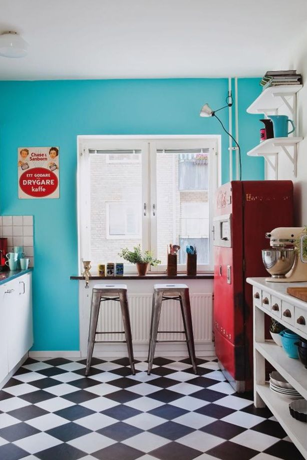 Turquoise Walls Checkerboard Floor Red Accents Kitchen