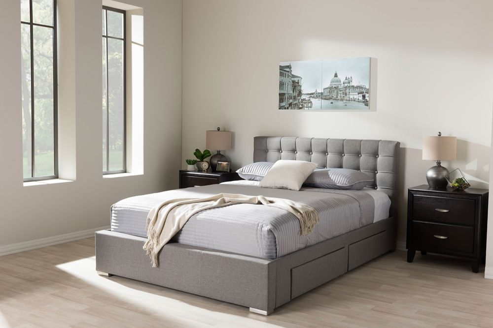 Fabric Platform Bed Frame With Drawers Jpg 1000