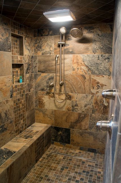 Loving This Shower And The Natural Tone Colors Of The Tile Log Cabin Kitchens Rustic Bathrooms Log Cabin Bathrooms