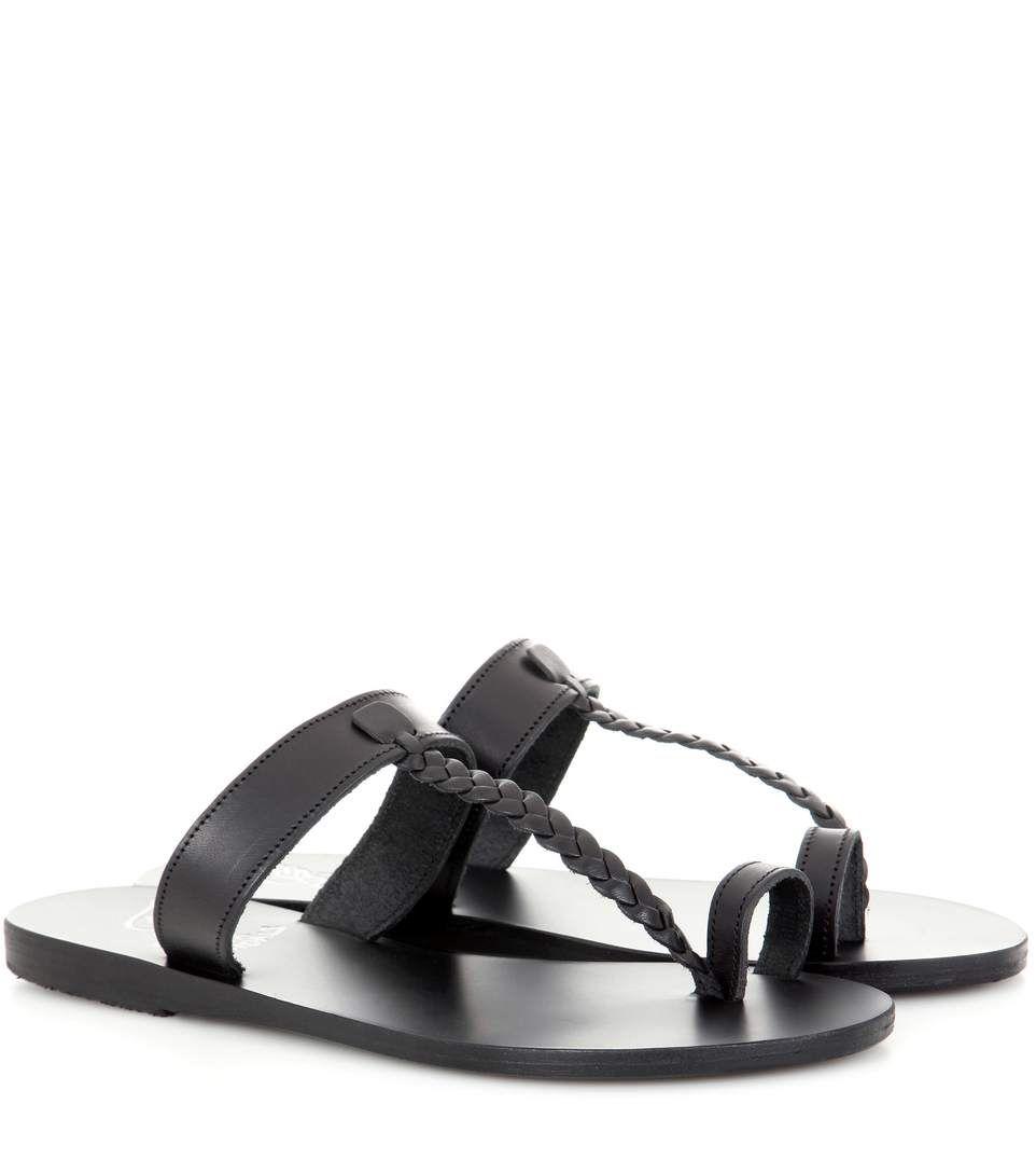 Melpomeni flat sandals - Black Ancient Greek Sandals lvLA3k2