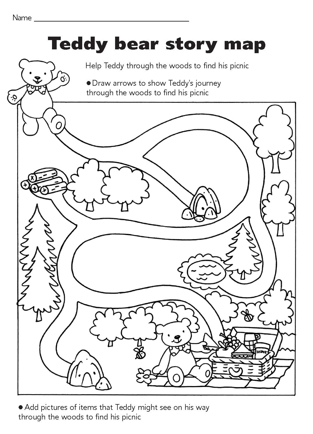 Teddy Bear Picnic Map Maze Teddy Bear Theme Printables Teddy