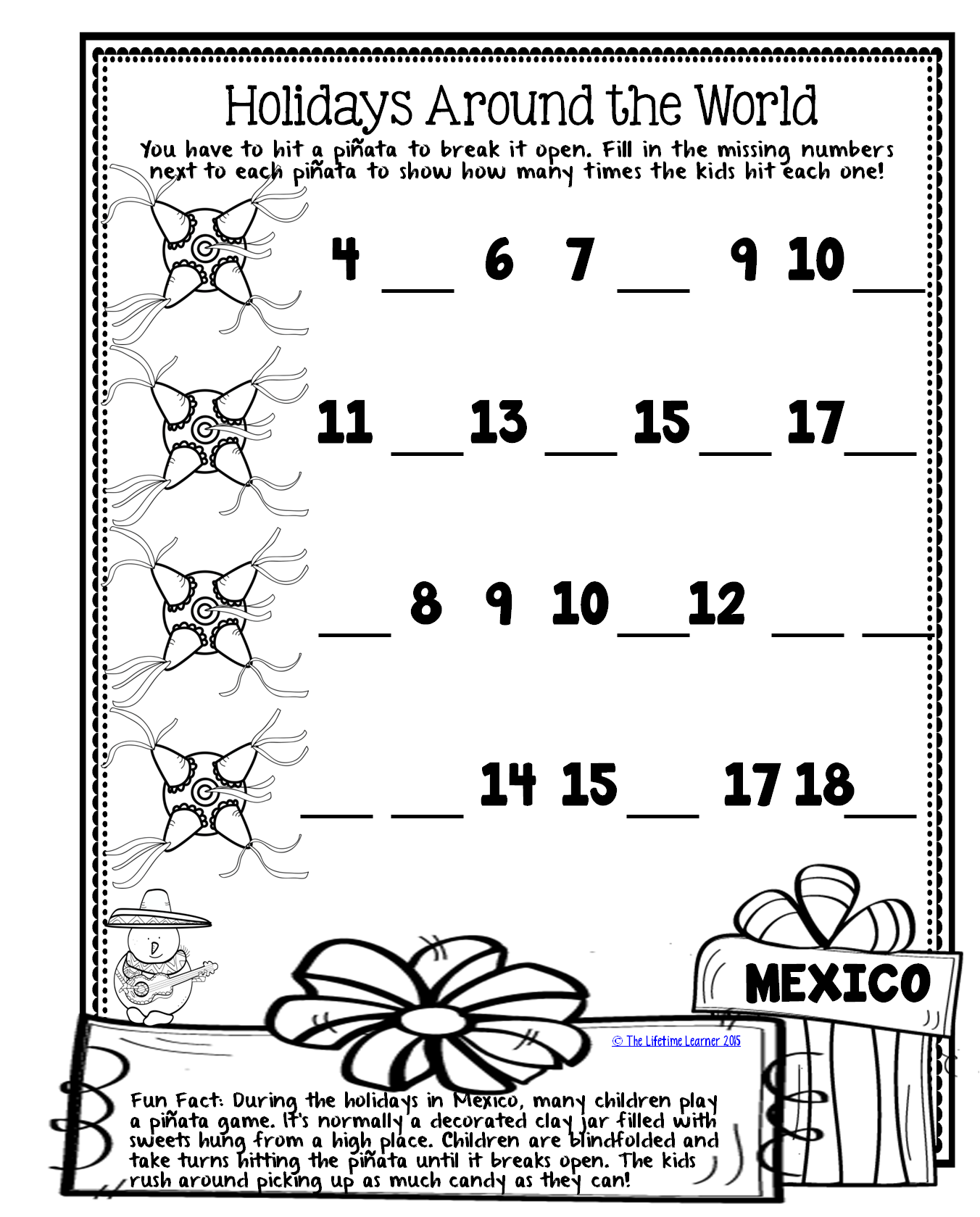 Freebie From Holidays Around The World Math Pack For