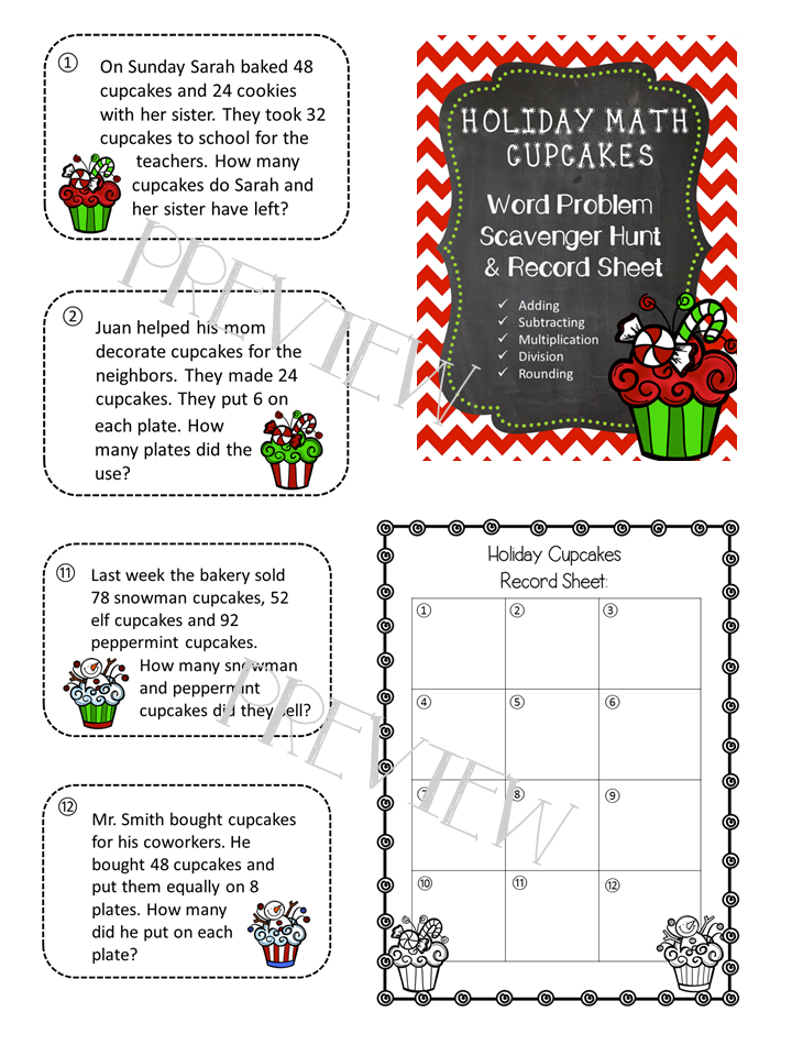 Holiday Math Word Problem Scavenger HUnt | Word problems ...