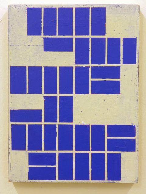 "peinture abstraite belge : Alain Biltereyst, 2013, ""street geometries"", géométrique, bleu, rectangles, 2010s"