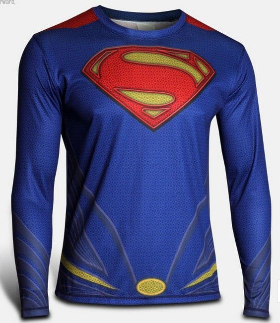 Quick Cool Dry Fit Tights Superhero Long Sleeve Athlete Baselayer Armour Blue