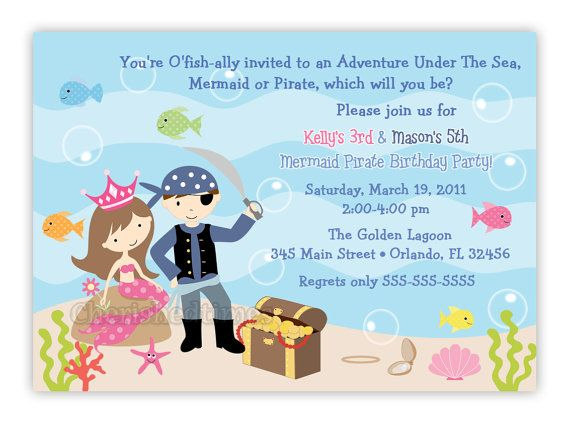Pirate And Mermaid Birthday Party Invitation Digital File In 2019