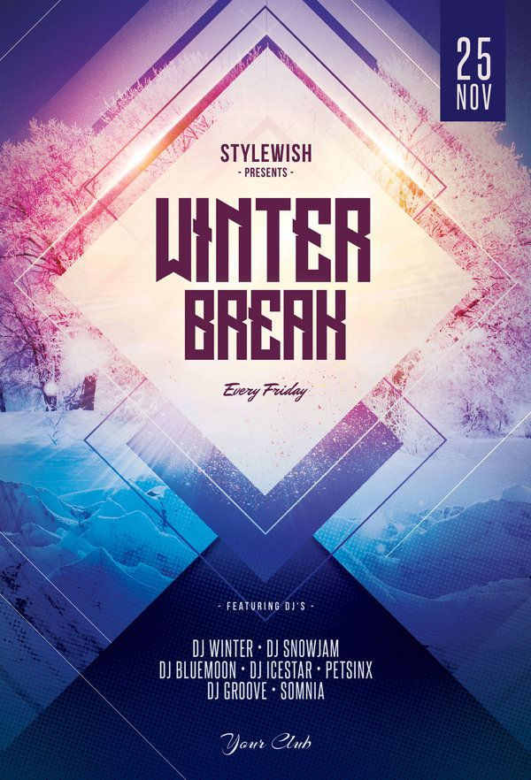 Winter Break Flyer Template (Download PSD file $9) stimulus poster