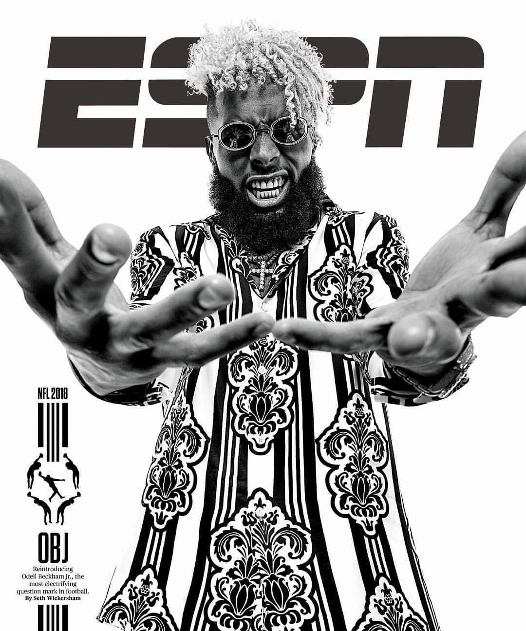 The Highest Paid Wide Receiver In The Nfl Obj Covers Espn Wearing A Versace Shirt Upscalehype Odellbeckhamjr Espn Magazine Odell Beckham Jr Beckham Jr