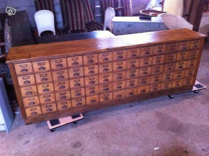 Ancien meuble de metier a 65 tiroirs quincaillerie ameublement vosges vintage - Quincaillerie meubles anciens ...