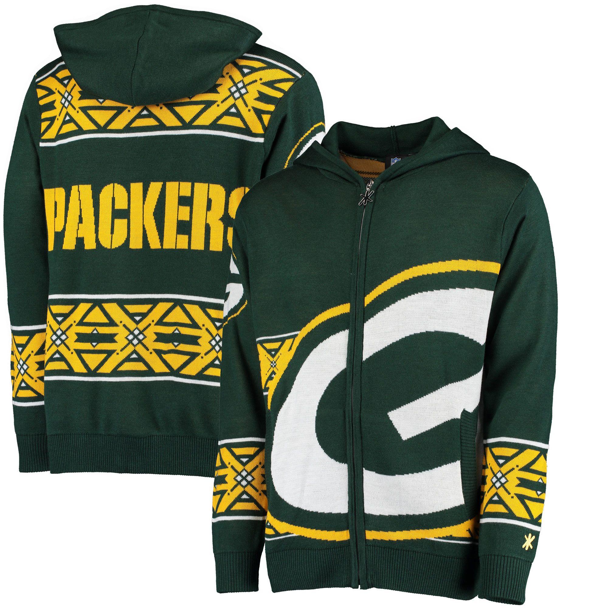 531ed437d37 NFL Green Bay Packers Klew Big Logo Full-Zip Hoodie - Green