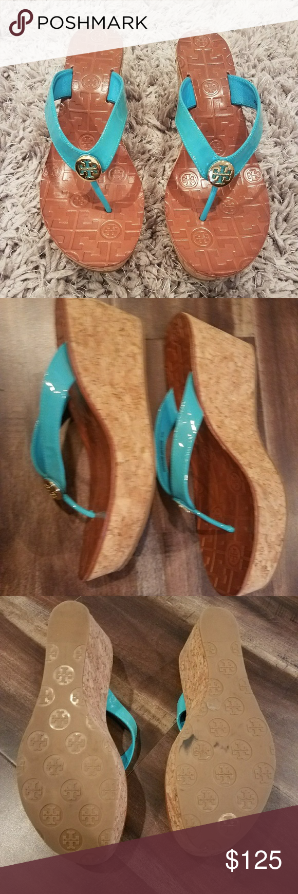 TORY BURCH THORA Turquoise Patent Leather Wedge TORY BURCH THORA Turquoise Patent Leather Wedge Thong Sandals Shoes Only worn twice Size 8.5 Tory Burch Shoes Wedges