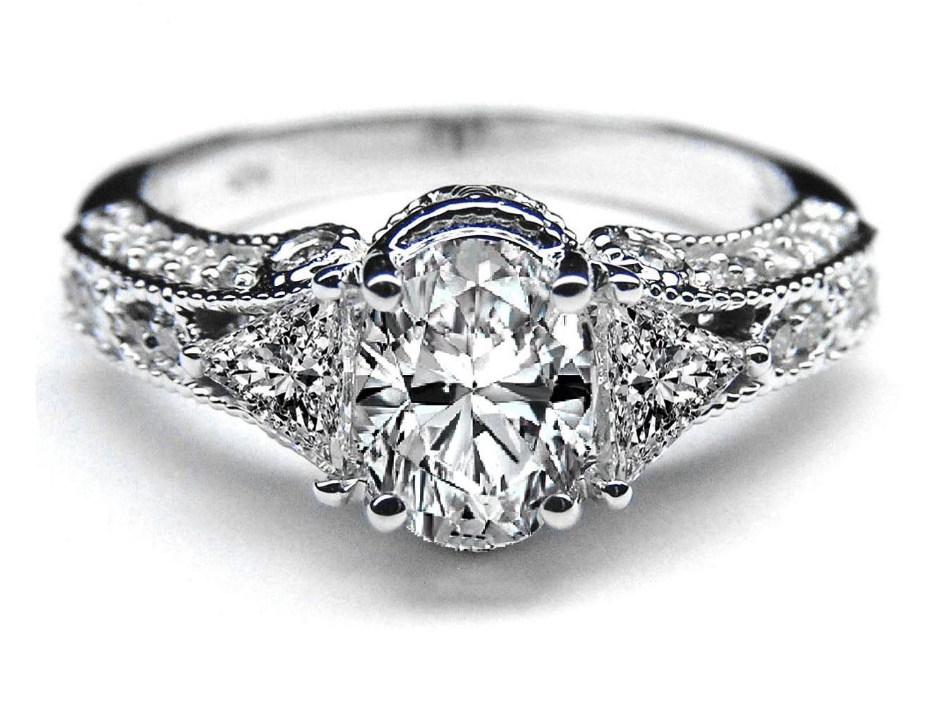 Vintage Style Oval Diamond Engagement Ring 0.83 tcw. In
