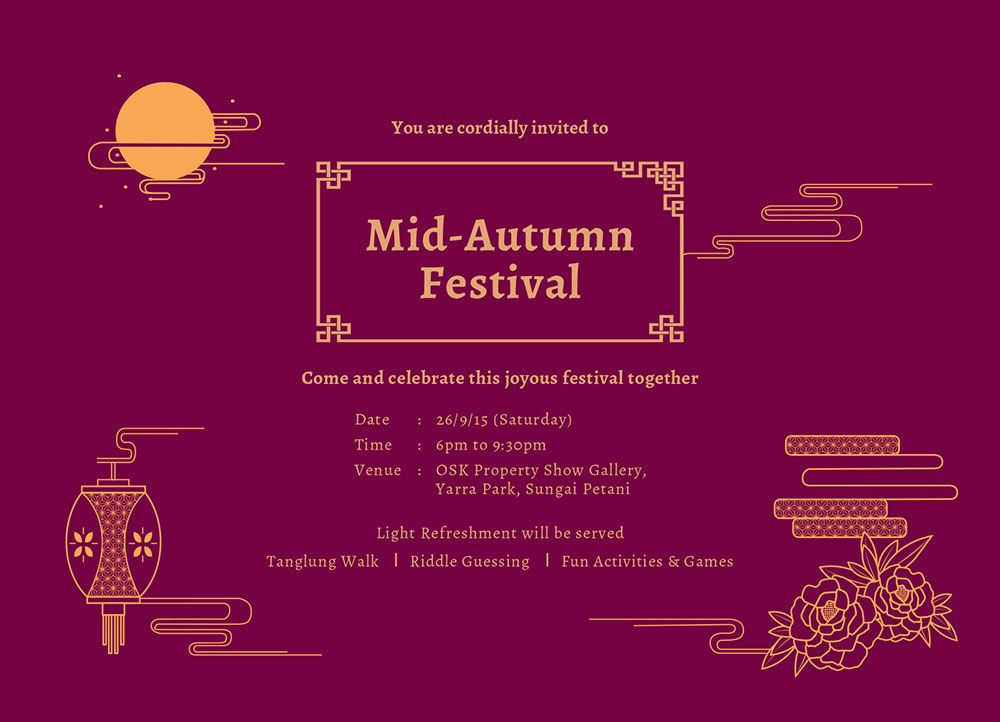 Mooncake Festival Invitation Card Design Mid Autumn Festival Autumn Moon Festival Mid Autumn