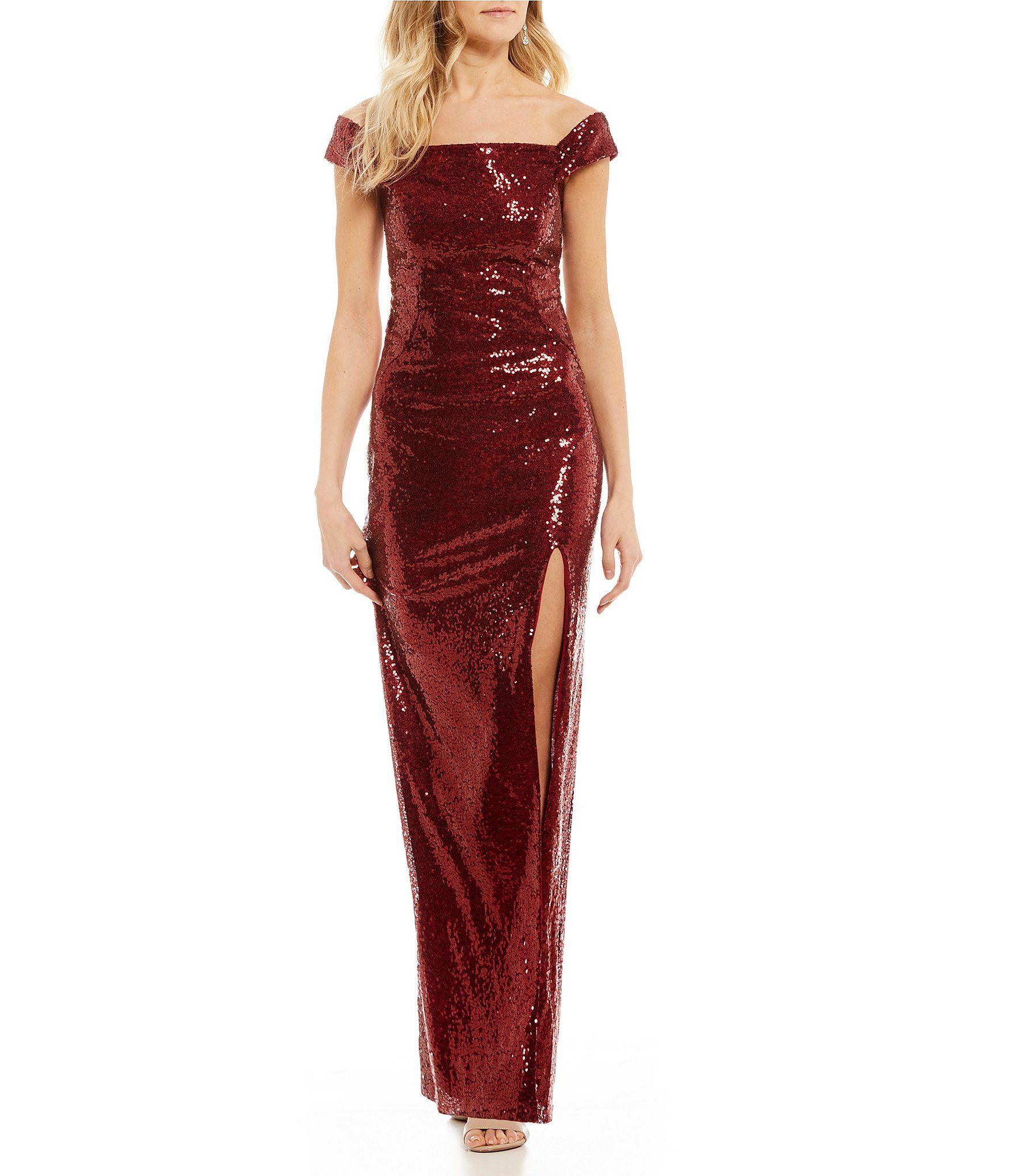 Shop for Teeze Me Off-The-Shoulder Sequin Long Dress at Dillards.com ...