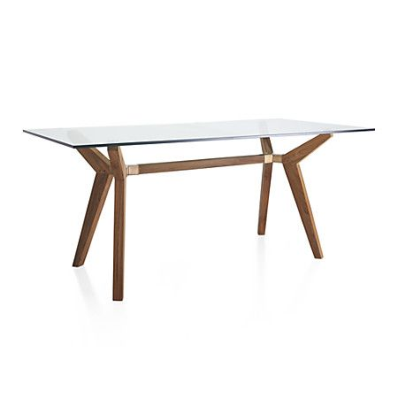 Designed to seat 6 to 8 diners. Strut Teak Table + Reviews   Crate and Barrel   Glass work ...