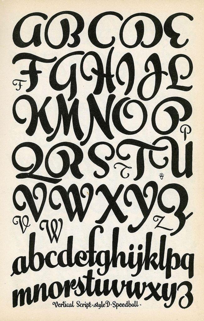 Vertical Script Speedball Lettering Vintage Alphabet