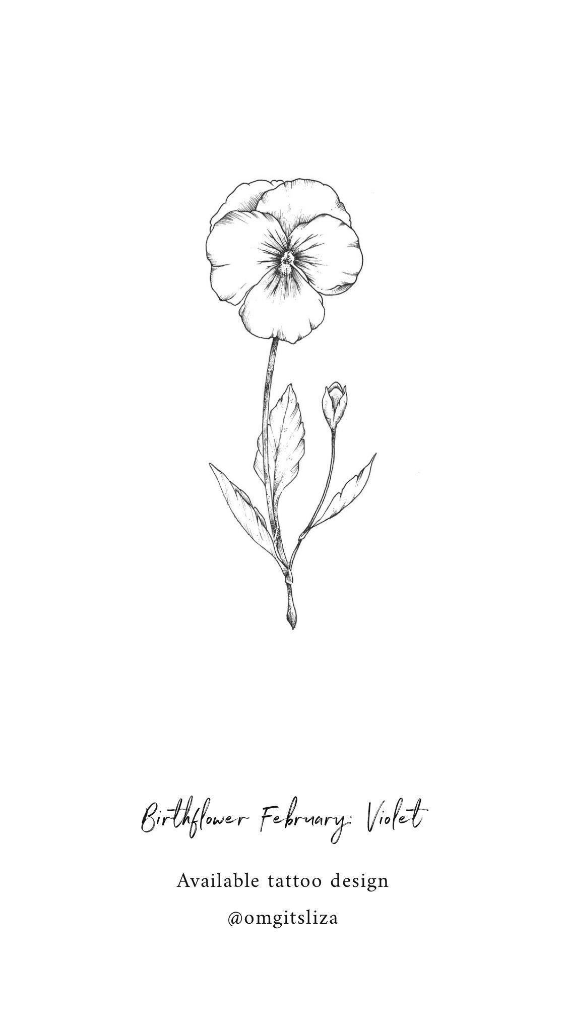 Birth Flower February Violet , Tattoo Design , Illustration
