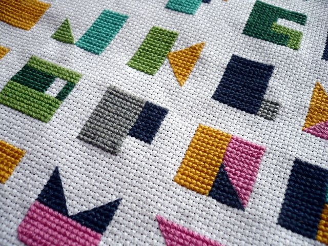 Modern Alphabet Cross Stitch | Flickr - Photo Sharing! Tula's ABC quilt turned into cross-stitch. I kind of have to do this, since I'm making the quilt.