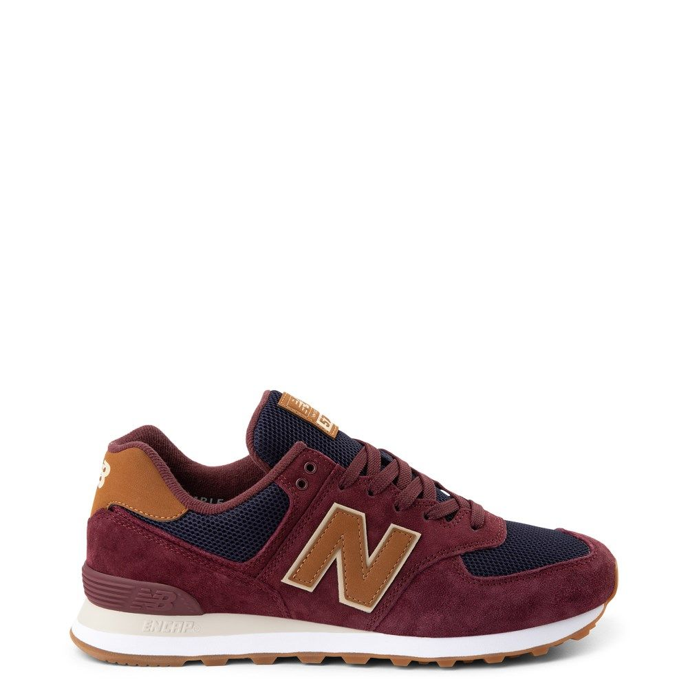 Mens New Balance 574 Athletic Shoe Burgundy / Navy / Tan
