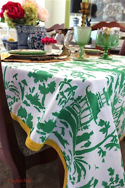 Diy Toile Tablecloth And A Giveaway Color Me Green Pinterest