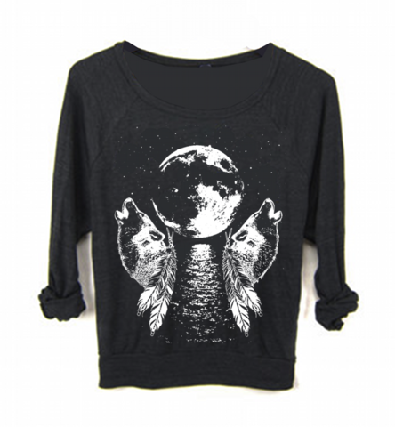 Womens WOLF Howling at the Moon Boho Yoga Sweatshirt - FREEBIRD